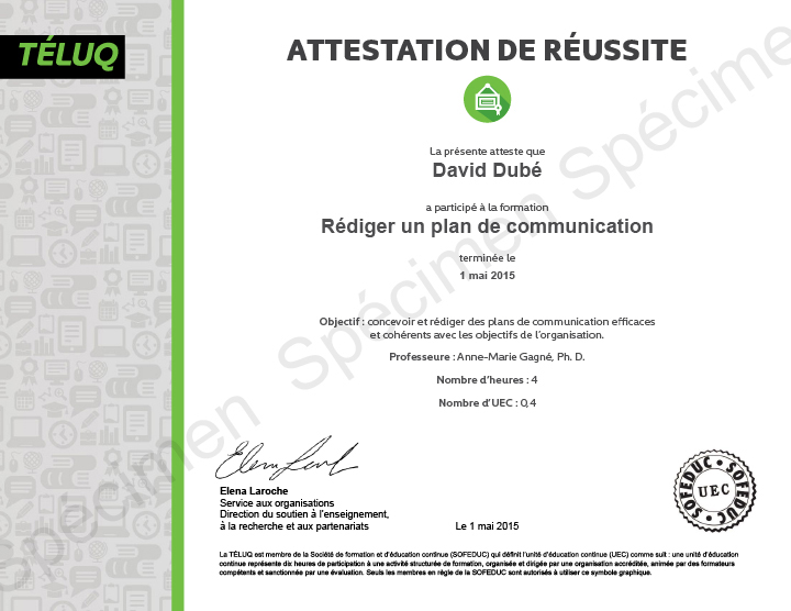 Exemple d'attestation de réussite.